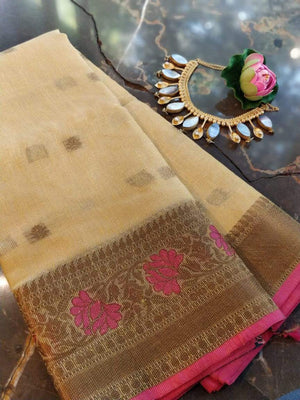Yellow kota saree with zari weaving border