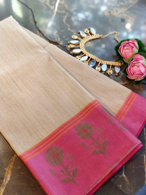 Cream chanderi  saree with zari weaving pink border