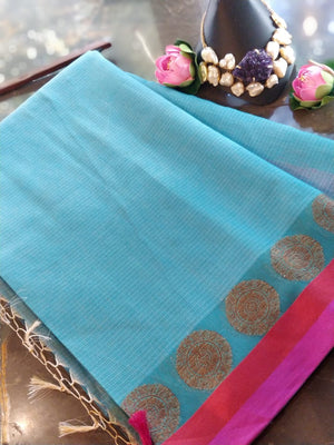 Sky blue chanderi saree with pink border and golden bootie border