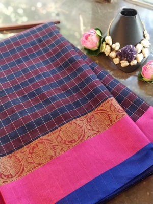 Multicolor check chanderi saree with pink and blue border and golden zari weaving