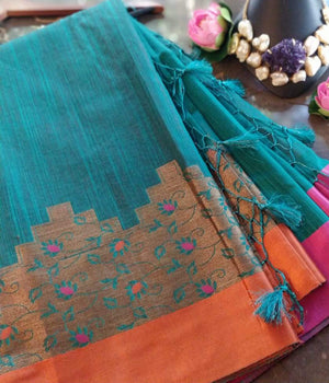 Green chanderi saree with golden zari weaving