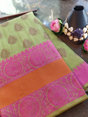 Green chanderi saree with multicolor zari weaving and golden booties all over