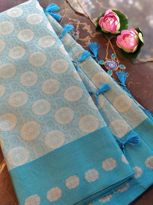 Blue kota supernet resham brocade saree