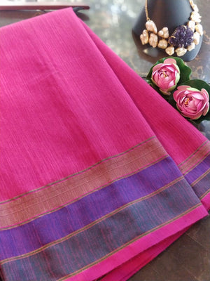 Dark pink chanderi saree with golden, blue and green border