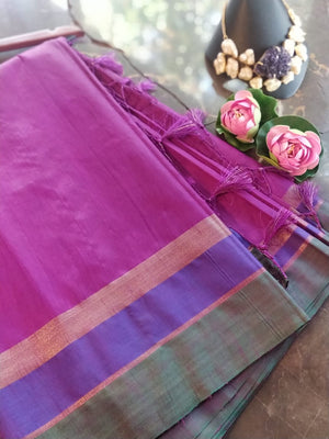 Purple chanderi saree with golden, blue and green border