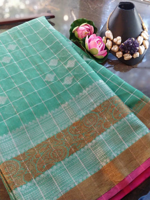 Green check chanderi saree with golden and silver zari weaving and silver booties all over