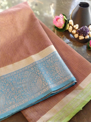 Brown chanderi saree with silver zari weaving on blue border