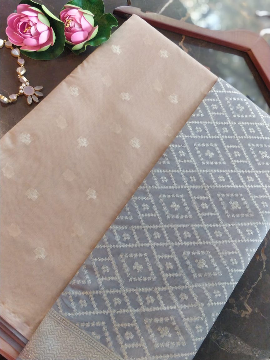 Beige chanderi dress material with grey organza dupatta