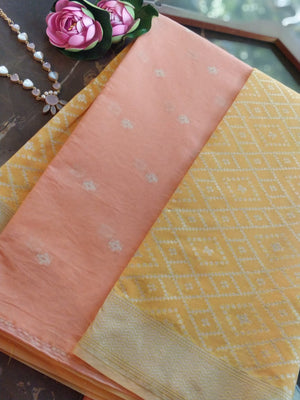 Peach Chanderi dress material with yellow organza dupatta