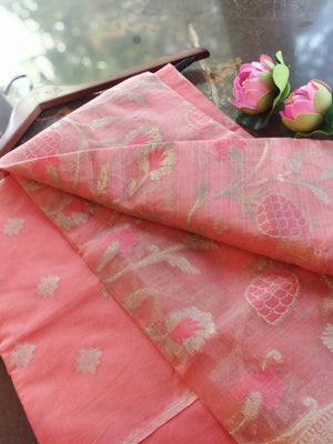 Peach Chanderi dress material with floral jaal organza dupatta
