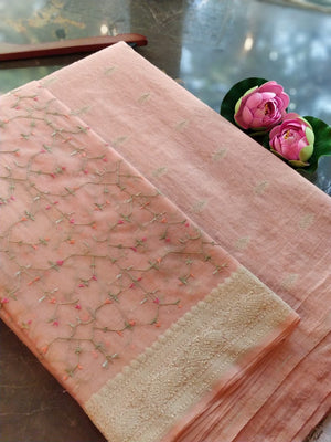 Peach Chanderi dress material with embroidered organza dupatta
