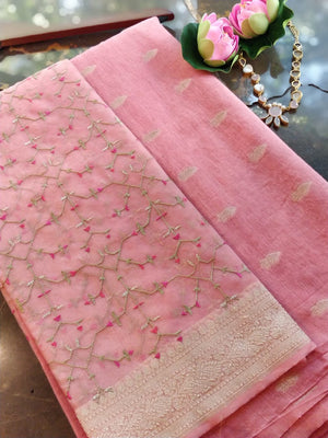 Pink Chanderi dress material with embroidered organza dupatta