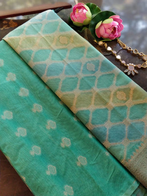 Green chanderi dress material with green organza dupatta