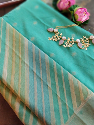 Green chanderi dress material with organza dupatta