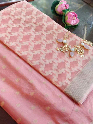 Baby pink chanderi dress material with organza dupatta