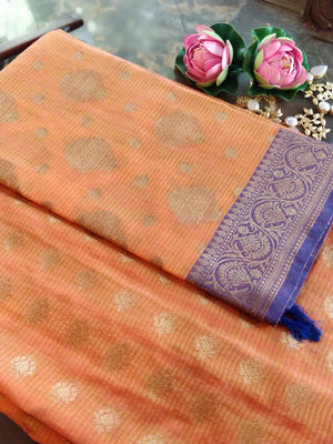 Orange chanderi dress material with dupatta