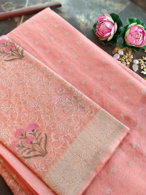 Peach chanderi dress material with organza embroidered dupatta