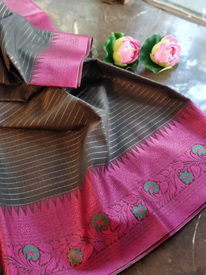 Black chanderi saree with pink resham border