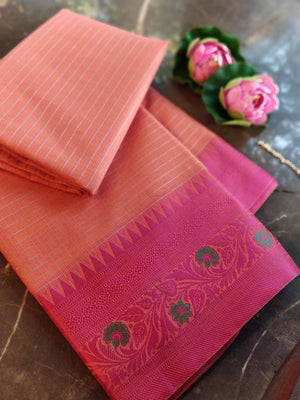 Peach chanderi saree with pink resham border