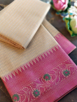 Cream chanderi saree with pink resham border