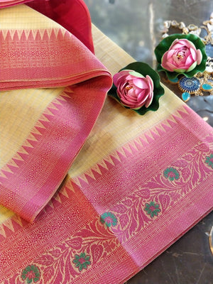 Yellow Chanderi saree with pink  resham border
