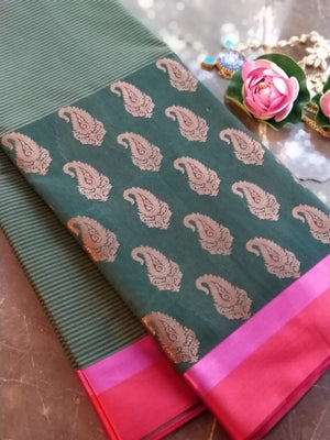 Green chanderi saree with zari paisely booties in skirt border patern and in red pink combination solid border