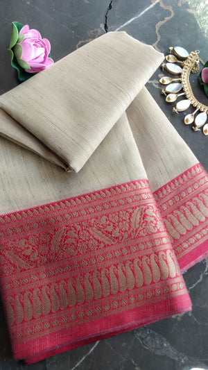 Cream zari kota saree with meenakari border