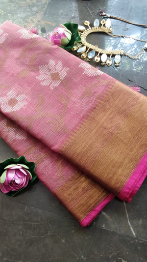 Dark pink kota saree with floral jaal overall and golden zari weaving