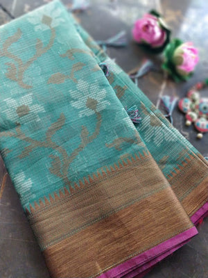 Green kota saree with floral jaal overall and golden zari weaving