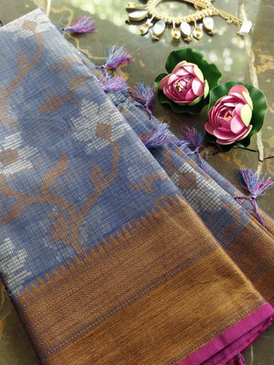 Blue kota saree with floral jaal overall and golden zari weaving