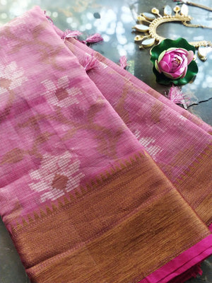 Pink kota saree with floral jaal overall and golden zari weaving