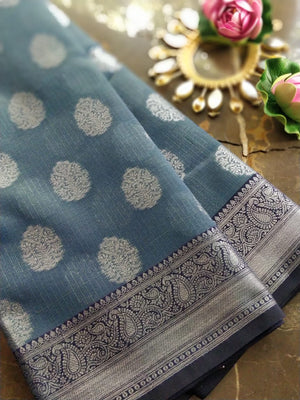 Blue kota saree with silver zari weaving and booties all over