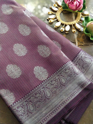 Purple kota saree with silver zari weaving and booties all over