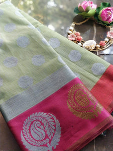 Light green Kota saree with brocade border and silver booties all over