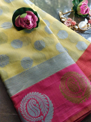 Yellow Kota saree with brocade border and silver booties all over