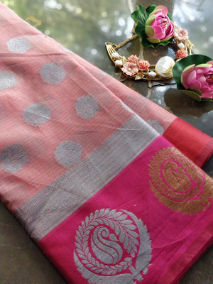 Light pink kota saree with brocade border and silver booties all over