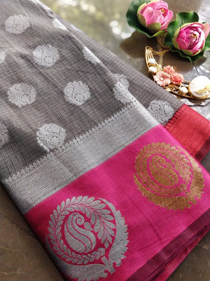 Grey kota saree with brocade border and silver booties all over