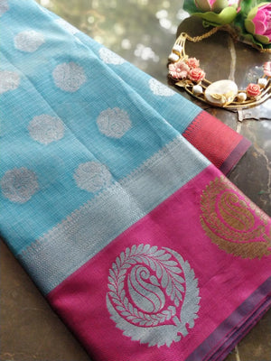 Sky blue kota saree with brocade border and silver booties all over
