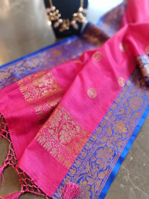 Dark pink dupion silk dupatta with golden booties