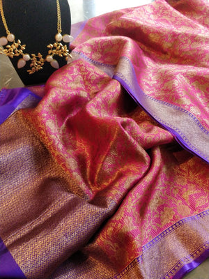 Pink pure silk banarsi duptta with golden weaving allover