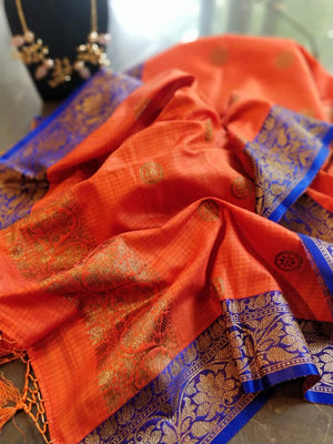 Orange dupion silk dupatta with blue border and golden zari
