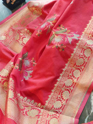 Dark peach dupatta with golden zari weaving and floral motifs allover