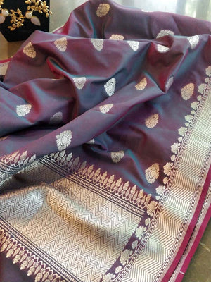 Wine dupatta with silver zari and booties all over