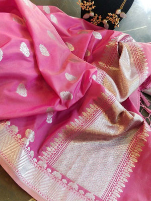 Pink dupatta with solver zari weaving and bootie allover
