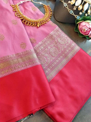 Light pink soft silk saree with silver zari weaving and red border