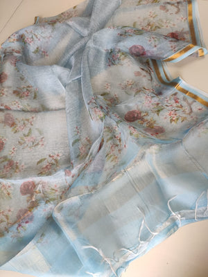 Sky blue shaded floral digital pint kora dupatta