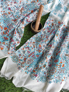 Pure silk block printed dupatta