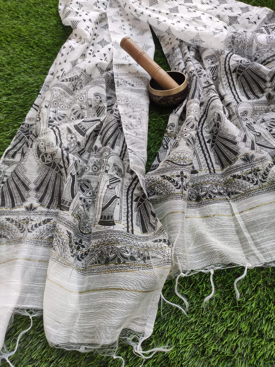 Beautiful pure silk block printed dupatta