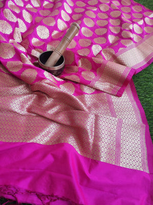 Bright pink silk dupatta with allover golden butties