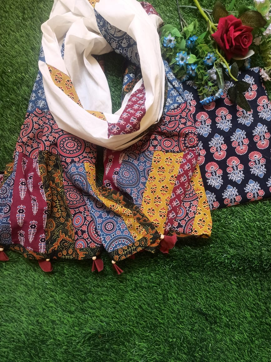 Ajarakh print suit piece with patch work dupatta